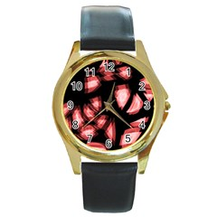 Red light Round Gold Metal Watch