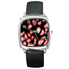 Red light Square Metal Watch