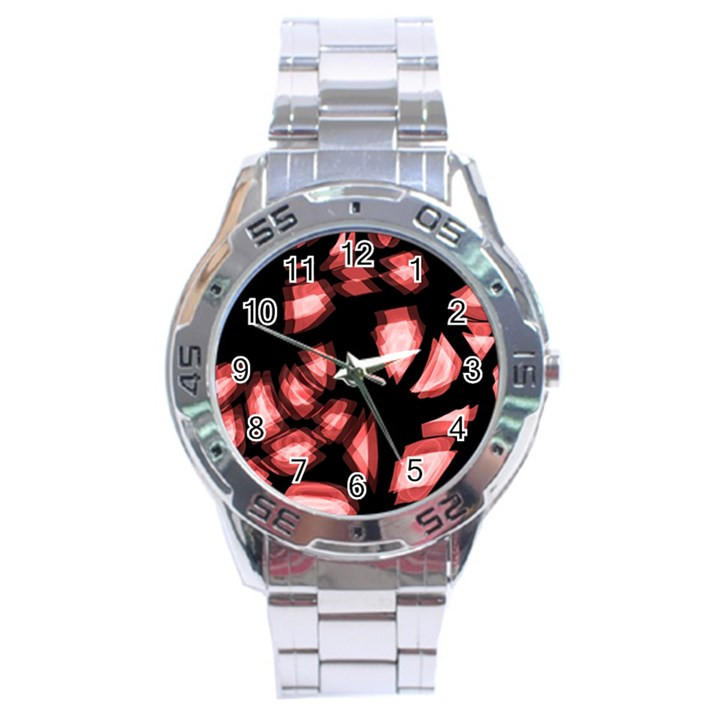 Red light Stainless Steel Analogue Watch