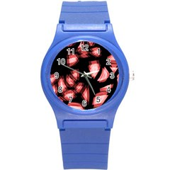 Red light Round Plastic Sport Watch (S)