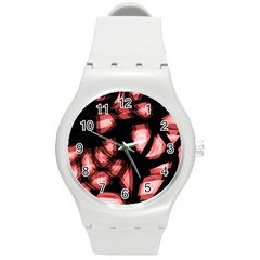 Red light Round Plastic Sport Watch (M)