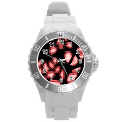 Red light Round Plastic Sport Watch (L)