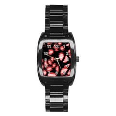 Red light Stainless Steel Barrel Watch