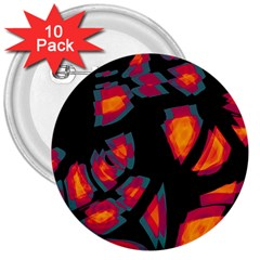 Hot, Hot, Hot 3  Buttons (10 Pack)