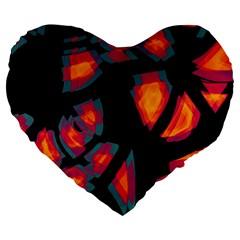 Hot, Hot, Hot Large 19  Premium Flano Heart Shape Cushions by Valentinaart