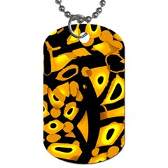 Yellow Design Dog Tag (two Sides) by Valentinaart