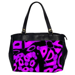 Purple Design Office Handbags (2 Sides)  by Valentinaart