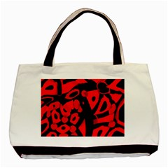 Red Design Basic Tote Bag by Valentinaart