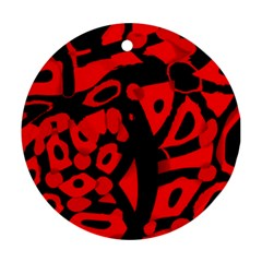 Red design Round Ornament (Two Sides)  by Valentinaart