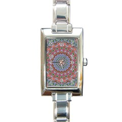 Abstract Painting Mandala Salmon Blue Green Rectangle Italian Charm Watch by EDDArt