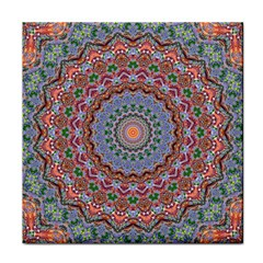 Abstract Painting Mandala Salmon Blue Green Tile Coasters by EDDArt
