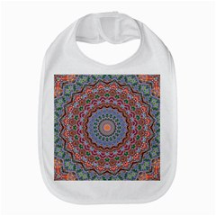 Abstract Painting Mandala Salmon Blue Green Bib