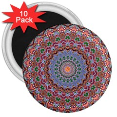 Abstract Painting Mandala Salmon Blue Green 3  Magnets (10 Pack)  by EDDArt