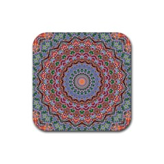 Abstract Painting Mandala Salmon Blue Green Rubber Coaster (square)  by EDDArt