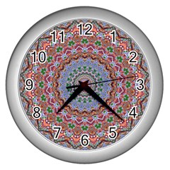 Abstract Painting Mandala Salmon Blue Green Wall Clocks (silver)  by EDDArt