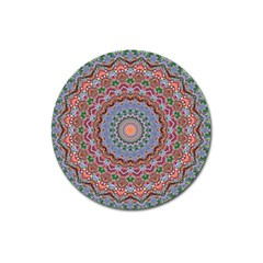 Abstract Painting Mandala Salmon Blue Green Magnet 3  (round) by EDDArt