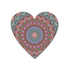 Abstract Painting Mandala Salmon Blue Green Heart Magnet by EDDArt