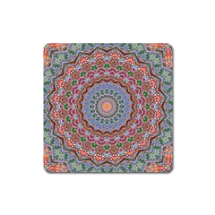 Abstract Painting Mandala Salmon Blue Green Square Magnet by EDDArt