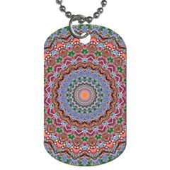 Abstract Painting Mandala Salmon Blue Green Dog Tag (one Side) by EDDArt