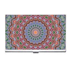 Abstract Painting Mandala Salmon Blue Green Business Card Holders by EDDArt
