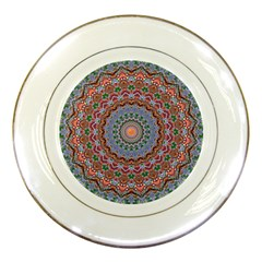 Abstract Painting Mandala Salmon Blue Green Porcelain Plates by EDDArt