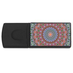 Abstract Painting Mandala Salmon Blue Green Usb Flash Drive Rectangular (4 Gb)