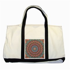 Abstract Painting Mandala Salmon Blue Green Two Tone Tote Bag by EDDArt