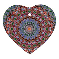 Abstract Painting Mandala Salmon Blue Green Heart Ornament (2 Sides) by EDDArt