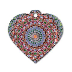 Abstract Painting Mandala Salmon Blue Green Dog Tag Heart (one Side) by EDDArt