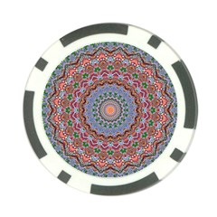 Abstract Painting Mandala Salmon Blue Green Poker Chip Card Guards by EDDArt