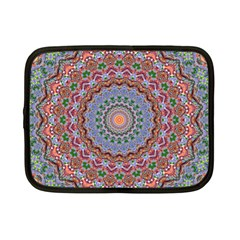 Abstract Painting Mandala Salmon Blue Green Netbook Case (small)  by EDDArt