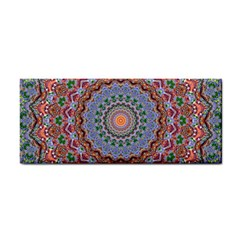 Abstract Painting Mandala Salmon Blue Green Hand Towel by EDDArt