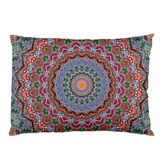 Abstract Painting Mandala Salmon Blue Green Pillow Case by EDDArt
