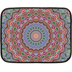 Abstract Painting Mandala Salmon Blue Green Fleece Blanket (mini) by EDDArt