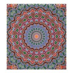 Abstract Painting Mandala Salmon Blue Green Shower Curtain 66  X 72  (large)  by EDDArt