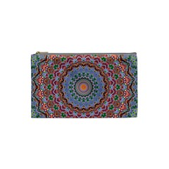Abstract Painting Mandala Salmon Blue Green Cosmetic Bag (small)  by EDDArt