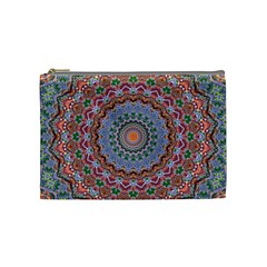 Abstract Painting Mandala Salmon Blue Green Cosmetic Bag (medium)  by EDDArt