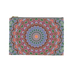 Abstract Painting Mandala Salmon Blue Green Cosmetic Bag (large)  by EDDArt