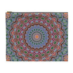 Abstract Painting Mandala Salmon Blue Green Cosmetic Bag (xl) by EDDArt