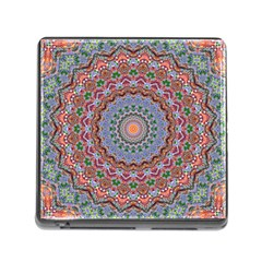Abstract Painting Mandala Salmon Blue Green Memory Card Reader (square)
