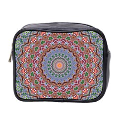 Abstract Painting Mandala Salmon Blue Green Mini Toiletries Bag 2 Side by EDDArt