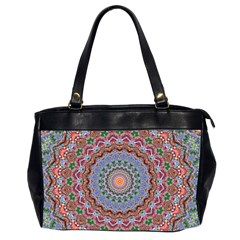 Abstract Painting Mandala Salmon Blue Green Office Handbags (2 Sides)  by EDDArt