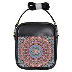 Abstract Painting Mandala Salmon Blue Green Girls Sling Bags by EDDArt