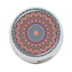 Abstract Painting Mandala Salmon Blue Green 4 Port Usb Hub (one Side) by EDDArt