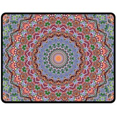 Abstract Painting Mandala Salmon Blue Green Fleece Blanket (medium)  by EDDArt