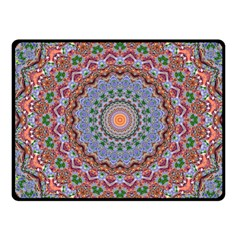 Abstract Painting Mandala Salmon Blue Green Fleece Blanket (small) by EDDArt