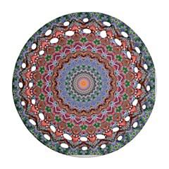 Abstract Painting Mandala Salmon Blue Green Round Filigree Ornament (2side) by EDDArt
