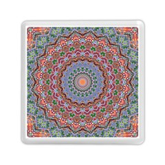 Abstract Painting Mandala Salmon Blue Green Memory Card Reader (square)  by EDDArt
