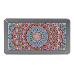 Abstract Painting Mandala Salmon Blue Green Memory Card Reader (mini) by EDDArt