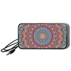 Abstract Painting Mandala Salmon Blue Green Portable Speaker (black)